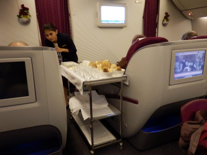 BREAD BASKETS ARE OFFERED TO ALL BUSINESS CLASS PASSANGERS