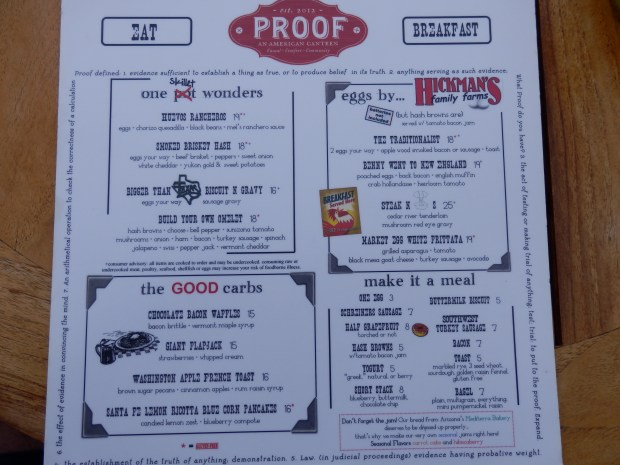 PROOF BREAKFAST MENU