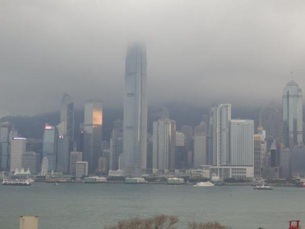 VIEW OF HONG KONG SKYLINE FROM THE HOTEL ENTRANCE