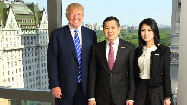 DONALD TRUMP WITH HARY TANOESOEDIBJO (CEO OF THE MNC GROUP) AND HIS WIFE