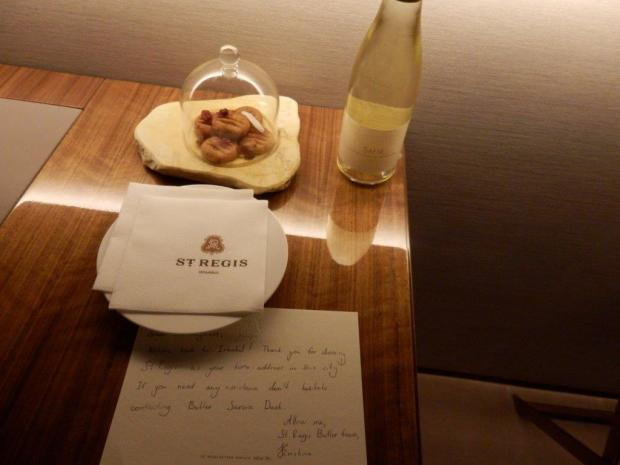 WELCOME LETTER, SNACK, AND BOTTLE OF WINE IN ROOM