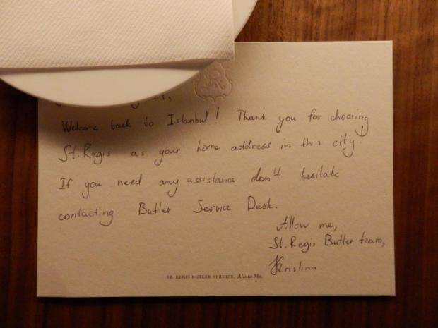 BUTLER WELCOME LETTER IN ROOM