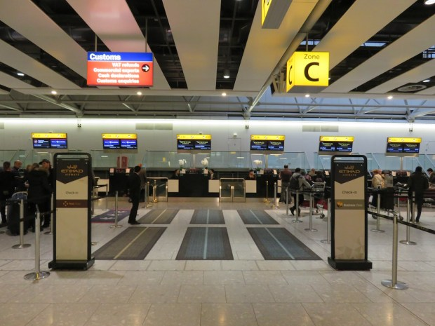 HEATHROW TERMINAL 4: ETIHAD CHECK IN AREA