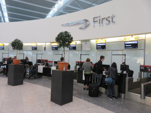 BRITISH AIRWAYS FIRST CLASS CHECK-IN AREA