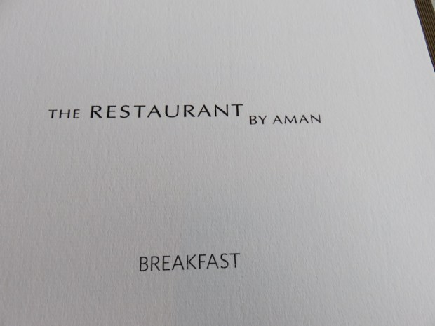 THE RESTAURANT BY AMAN: BREAKFAST
