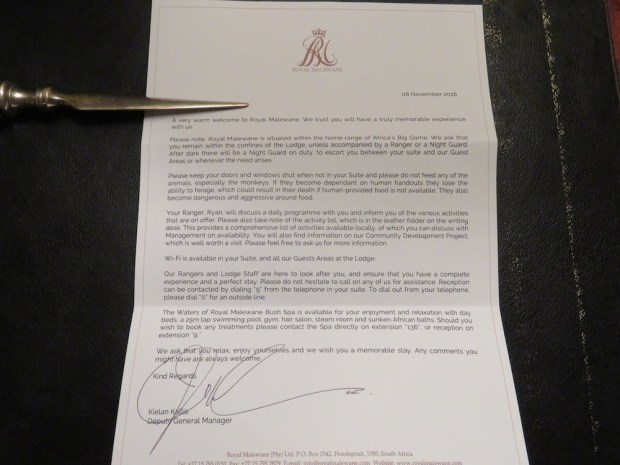 ROYAL SUITE: WELCOME LETTER