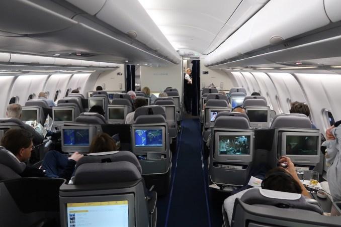 LUFTHANSA A330 BUSINESS CLASS CABIN (AFTER TAKEOFF)