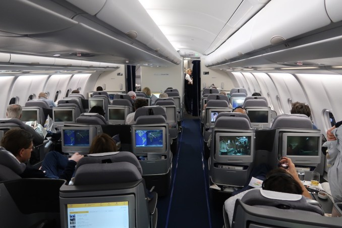LUFTHANSA A330 BUSINESS CLASS CABIN (AFTER TAKEOFF)