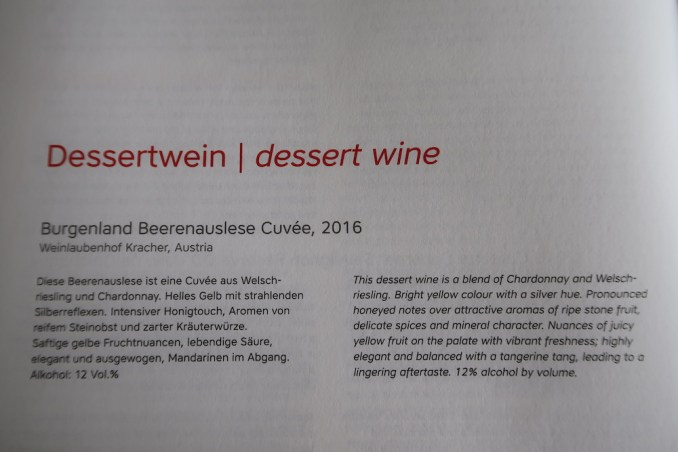 AUSTRIAN AIRLINES BUSINESS CLASS MENU