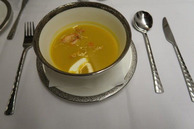 THAI AIRWAYS B747 FIRST CLASS MENU: CURRIED PUMPKIN SOUP