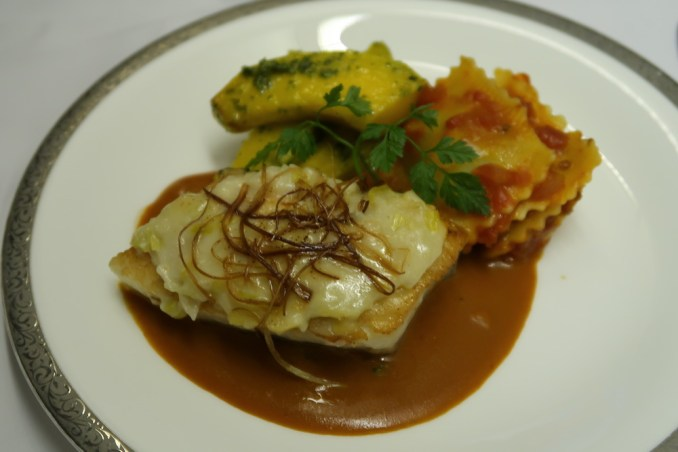 THAI AIRWAYS B747 FIRST CLASS MENU: BAKED CHILEAN SEA BASS