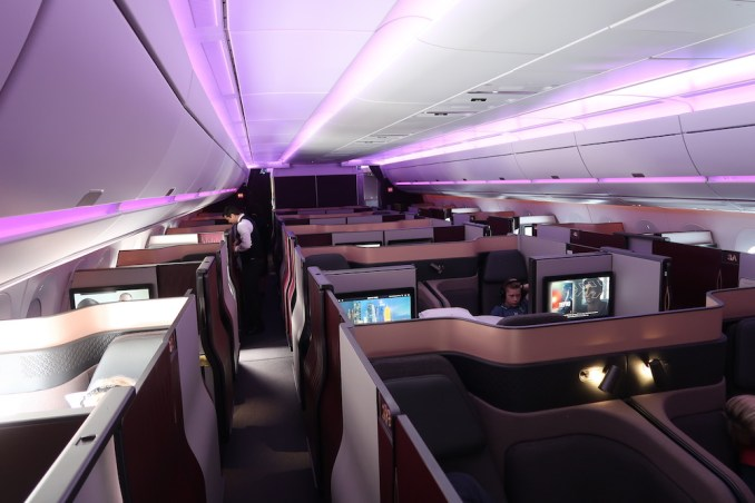 QATAR AIRWAYS A350 BUSINESS CLASS CABIN (IN FLIGHT)QATAR AIRWAYS A350 BUSINESS CLASS CABIN (IN FLIGHT)