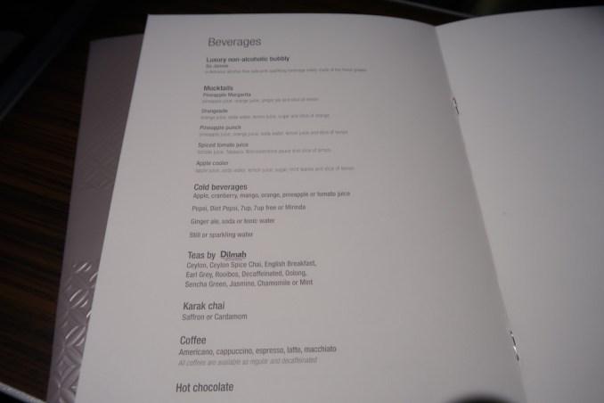 QATAR AIRWAYS A330 BUSINESS CLASS: MENU
