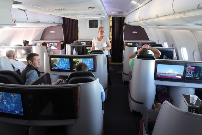 QATAR AIRWAYS A330 BUSINESS CLASS CABIN (AFTER SUNRISE)