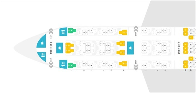 A350-900 QSUITE SEAT MAP
