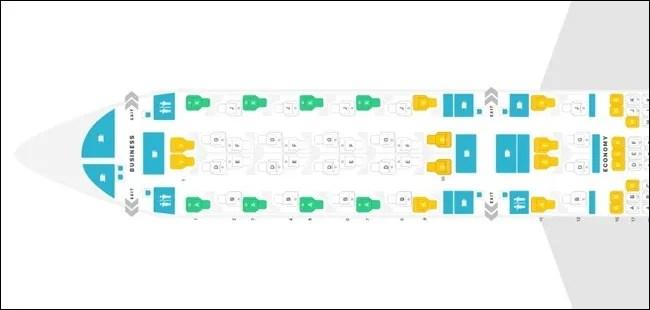 A350-1000 QSUITE SEAT MAP