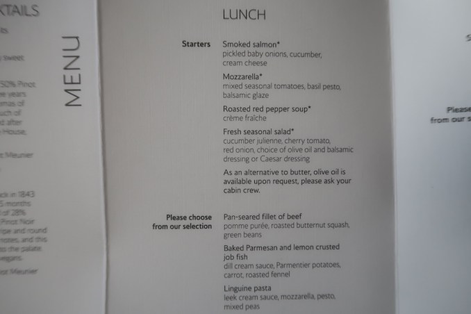 BRITISH AIRWAYS B787 BUSINESS CLASS MENU