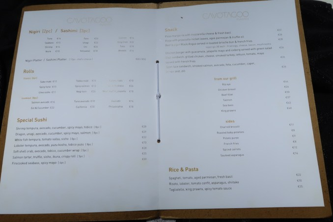 CAVO TAGOO MYKONOS: LUNCH (MENU)