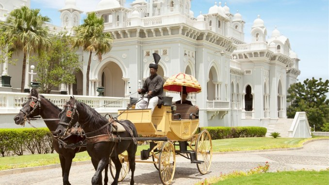 ARRIVE BY HORSE-DRAWN CARRIAGE AT TAJ FALAKNUMA PALACE (INDIA)