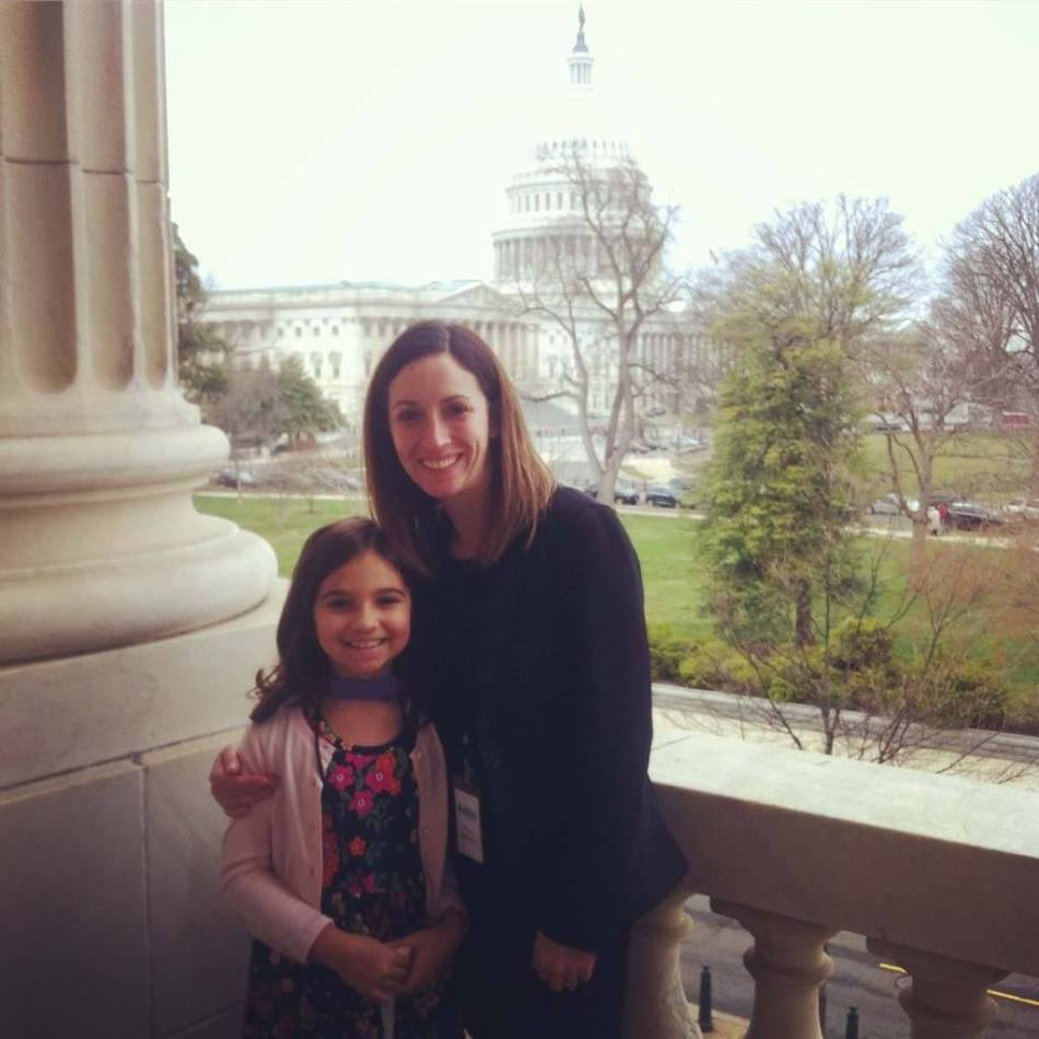 Emma and her mom pose together during one of their trips to Washington, D.C.