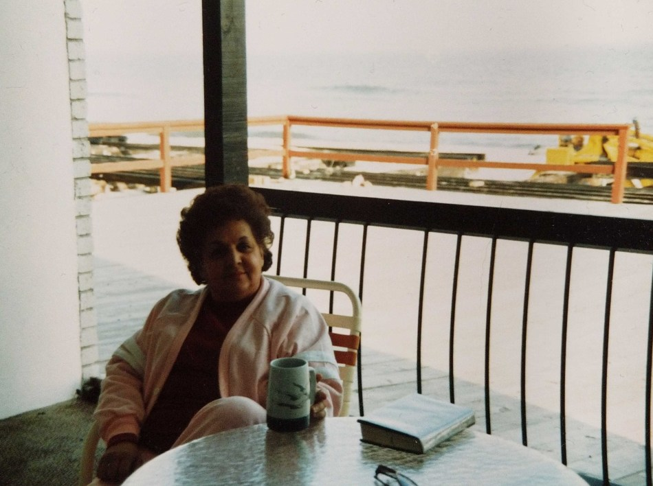 Alexa's grandmother, Phyllis Della-Rocca, relaxes on the deck of her oceanfront condo.