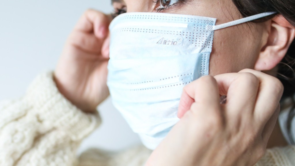 A woman adjusts her medical face mask.