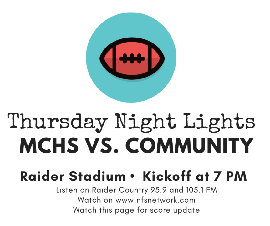 Raiders versus Community varsity game moved to Thursday