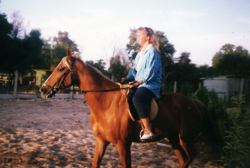 Riding Uncle John's horse (Cape Town).