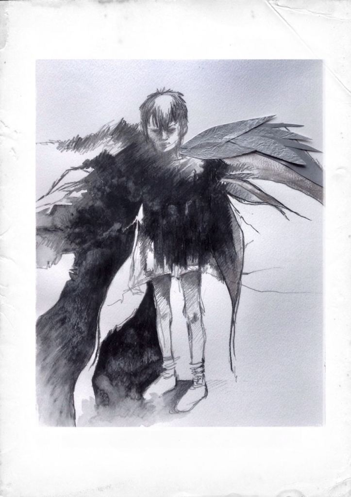 This was a pencil sketch - but I added some wings (with silver paper)... again representing the idea that there's *MORE* to people than what we SEE...