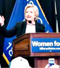 Hillary Clinton addresses the crowd at a Thursday campaign stop to UWM. (Photo by Eelisa Jones)