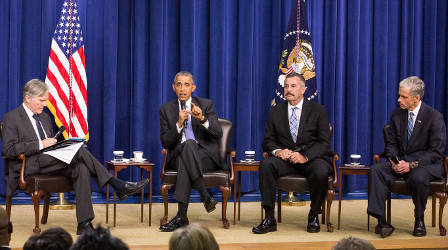 President Barack Obama speaks to guests at The White House Panel Discussion on Criminal Justice Reform. Here is joined by Moderator Bill Keller (left), Editor-in-Chief of The Marshall Project, Charlie Beck (right), Chief, Los Angeles Police Department, and John Walsh (far right), United States Attorney, District of Colorado. The focus of the discussion was how to make America's law enforcement and correctional practices more just and effective. | Photo by Cheriss May, Howard University News Service