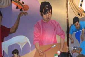 Section of new community mural at Lake View Elementary. Photo by Brianna Rae.