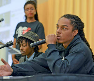 "Messaiah Ramiskoon, an MC, youth advocate and three-time winner of ""Showtime at the Apollo,"" comments on homophobia in Hip Hop at the Health and Hip Hop Conference at Morgan State University in Baltimore, Md. (Freddie Allen/BAI)"
