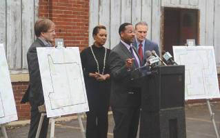 """Recently elected Common Council Ald. Ashanti Hamilton speaks about """"Out of Harm's Way"""" during press conference on May 4, 2016."""