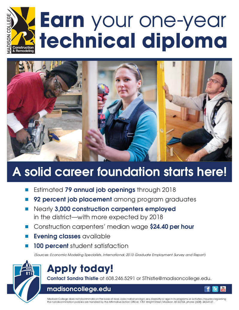 madison-college-construction-remodeling-one-year-technical-diploma-flyer