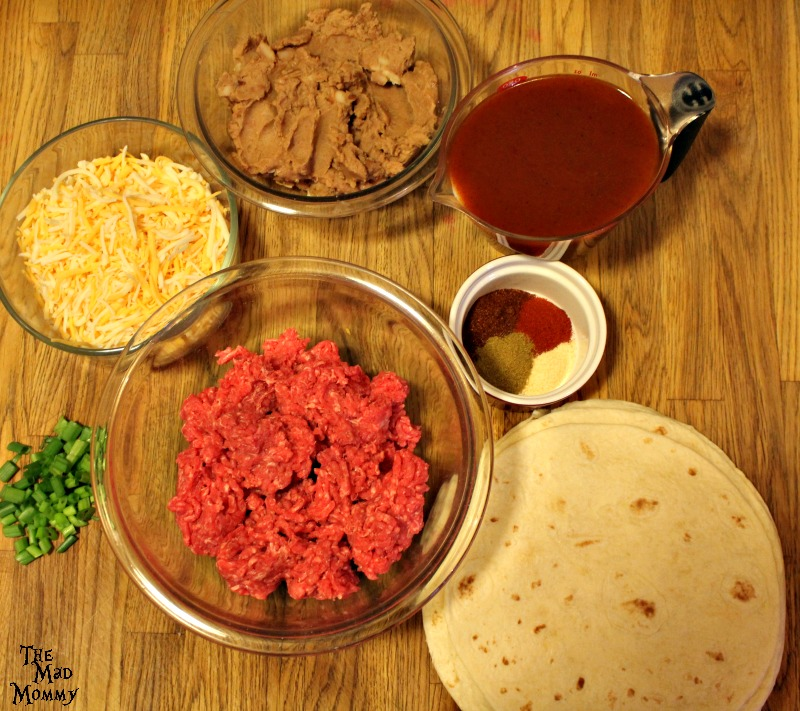 The ingredients needed for Beef and Bean Enchiritos!