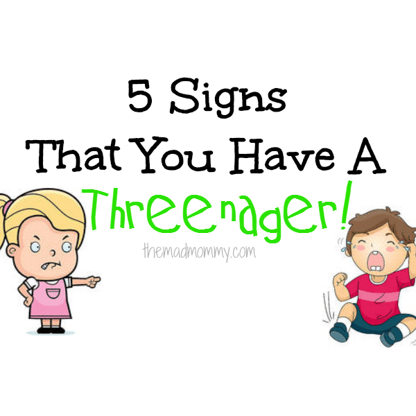 "The two's were a breeze compared to the ""trying three's"" and the dreaded threenager! ""What is a threenager?"", you ask. Here are 5 warning signs that you may have a threenager..."