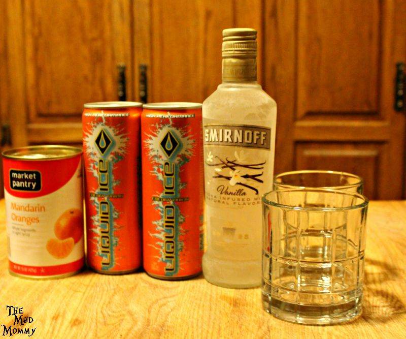 Here are the ingredients needed to make a Vanilla Orange Krush cocktail.