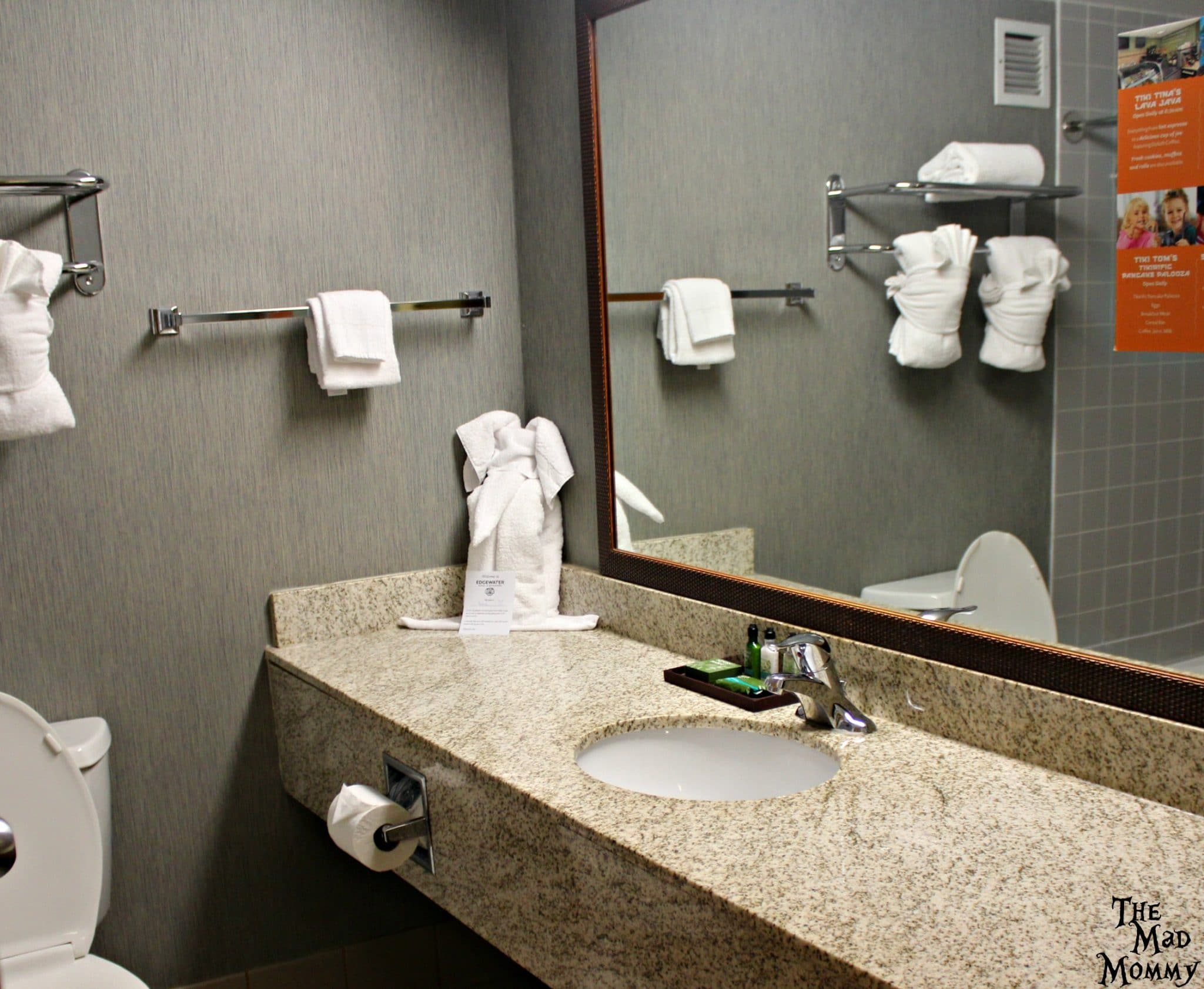 The bathroom at The Edgewater Hotel and Waterpark in Duluth, MN.