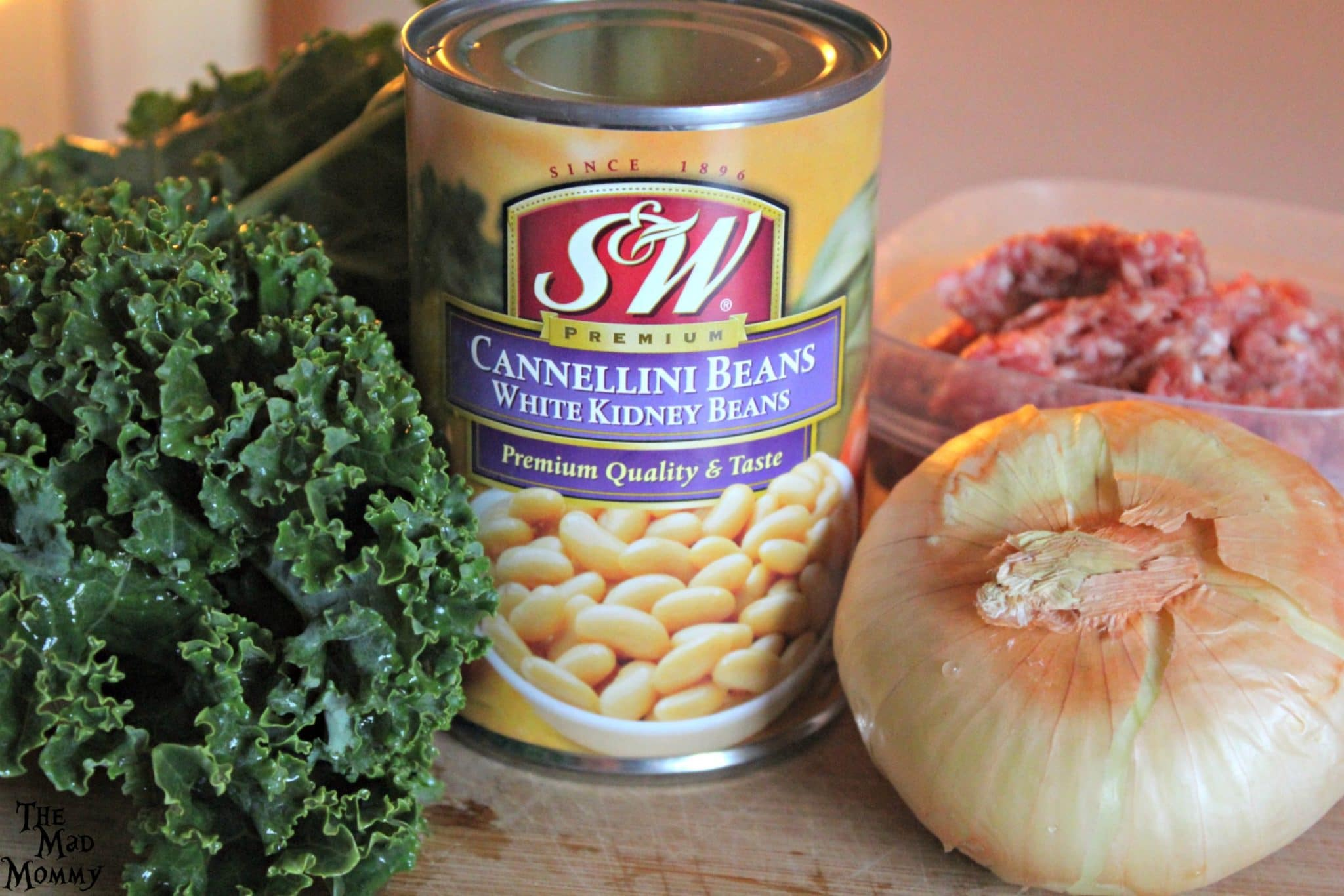 The ingredients for my Zuppa Toscana recipe, including some delicious @SWBeans! #SWBeans #IC #ad