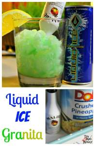 Liquid Ice is my go-to energy drink. I love the flavor and I love the way it mixes well with others. I have made a few Liquid Ice cocktails in the past, but this Liquid Ice Granita, is the perfect addition to any summer fiesta!