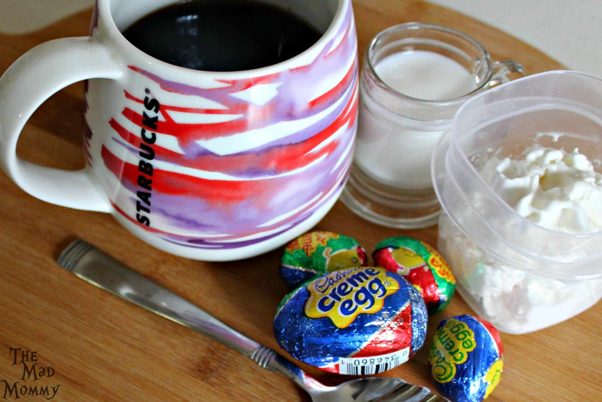 The ingredients needed to make the Cadbury Creme Egg Coffee recipe!