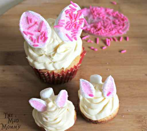 making the quick bunny cupcakes.