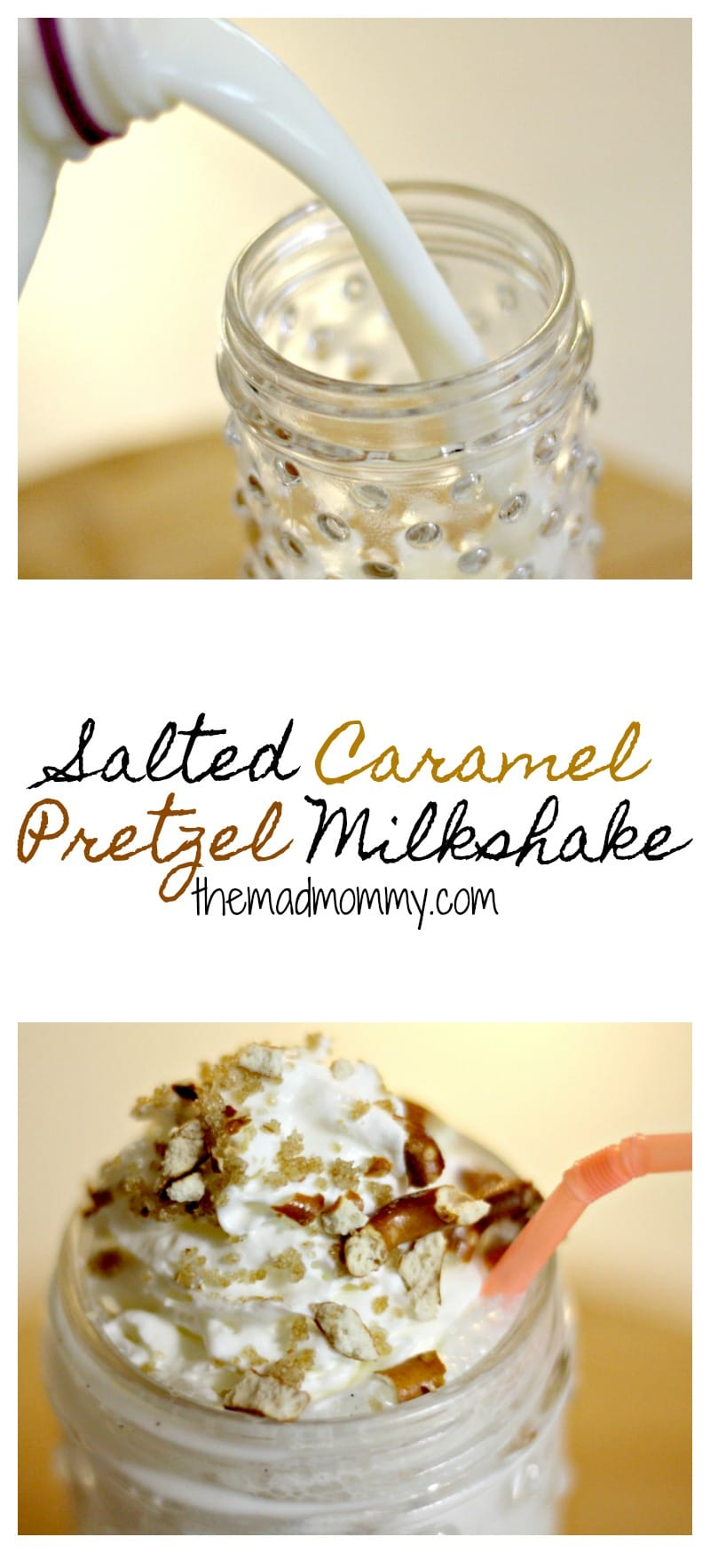 This Salted Caramel Pretzel milkshake is just as delicious and refreshing, as it is beautiful! #Sponsored #MilkTheRealStory