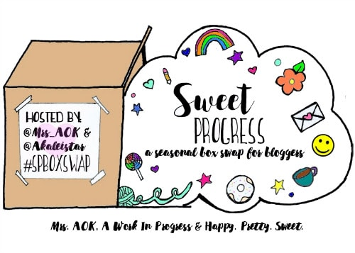 The Sweet Progress is a blogger box swap, that was created and is ran by, Dean from Mrs. AOK and Ashley from Happy Pretty Sweet! Every season, they hold sign ups and then, they pair bloggers together. The bloggers get to know each other via their blogs, social media sites and through emails and then, they surprise each other with a box of goodies in the mail!