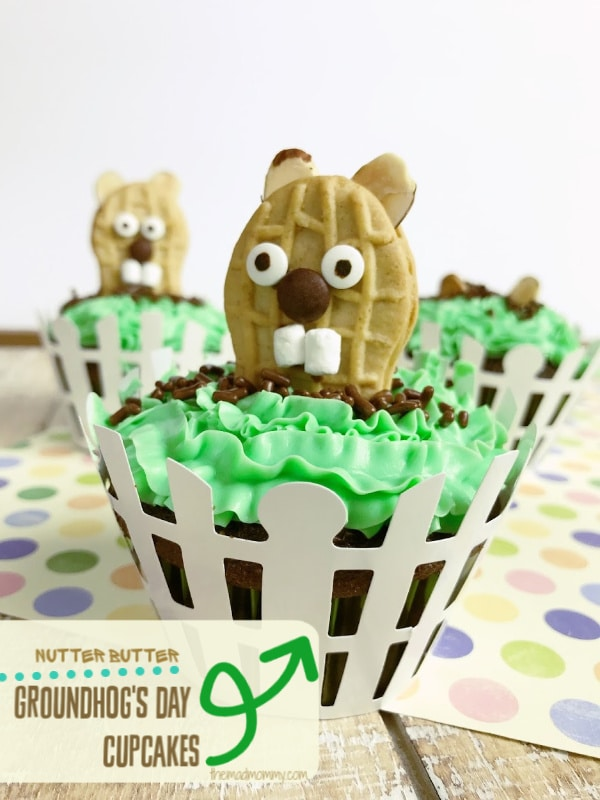 February 2nd is recognized as Groundhog Day throughout the US and Canada! Well, you guys know how much I love cute theme recipes, right? Man, oh, man, everyone will go nuts for these Nutter Butter Groundhog Cupcakes!