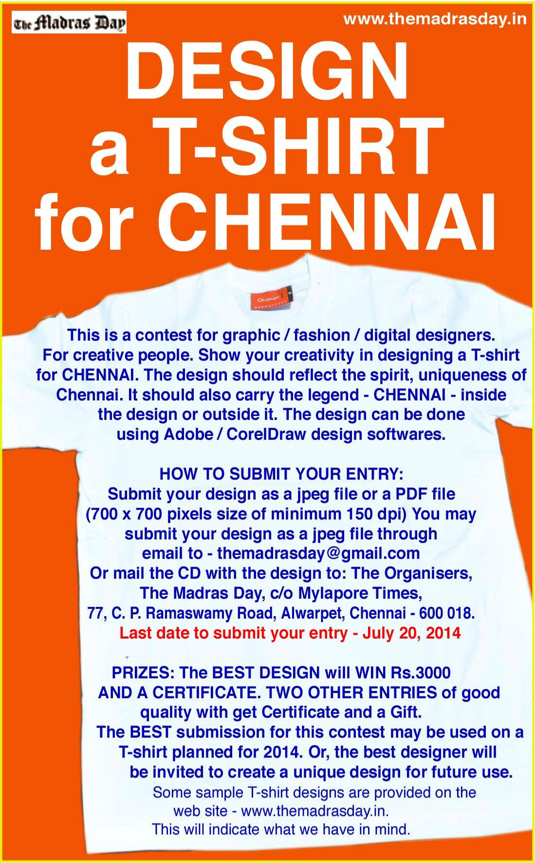 Design a t shirt for chennai last date july 20 2014 entries madras tirt design content 1betcityfo Image collections