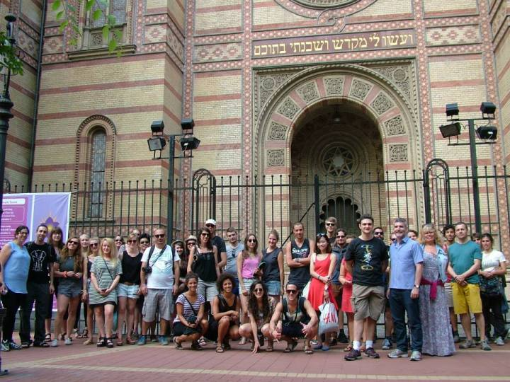 taking a tour, starting outside the synagogue