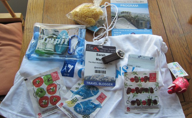 Piling up a day's worth of conference freebies