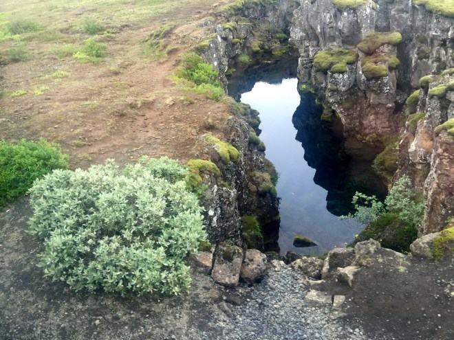 clear water filling the gap between two tectonic plates